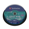 DVD-RW, 4x, Branded, Silver Non Print Surface, Spindle 10pk